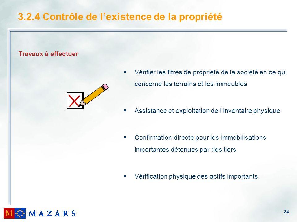 34 3.2.4 Contrôle de lexistence de la propriété Vérifier les titres de propriété de la société en ce qui concerne les terrains et les immeubles Assist