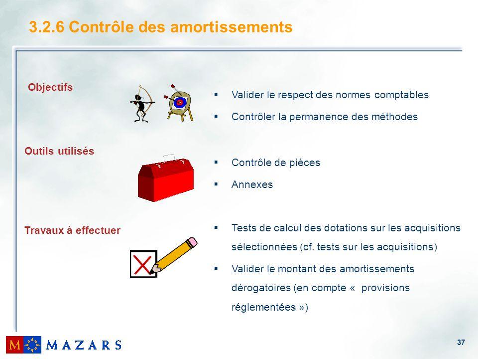 37 3.2.6 Contrôle des amortissements Valider le respect des normes comptables Contrôler la permanence des méthodes Contrôle de pièces Annexes Tests de