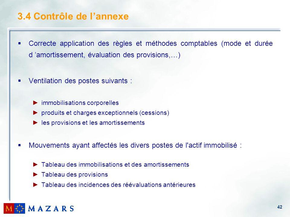 42 3.4 Contrôle de lannexe Correcte application des règles et méthodes comptables (mode et durée d amortissement, évaluation des provisions,…) Ventila