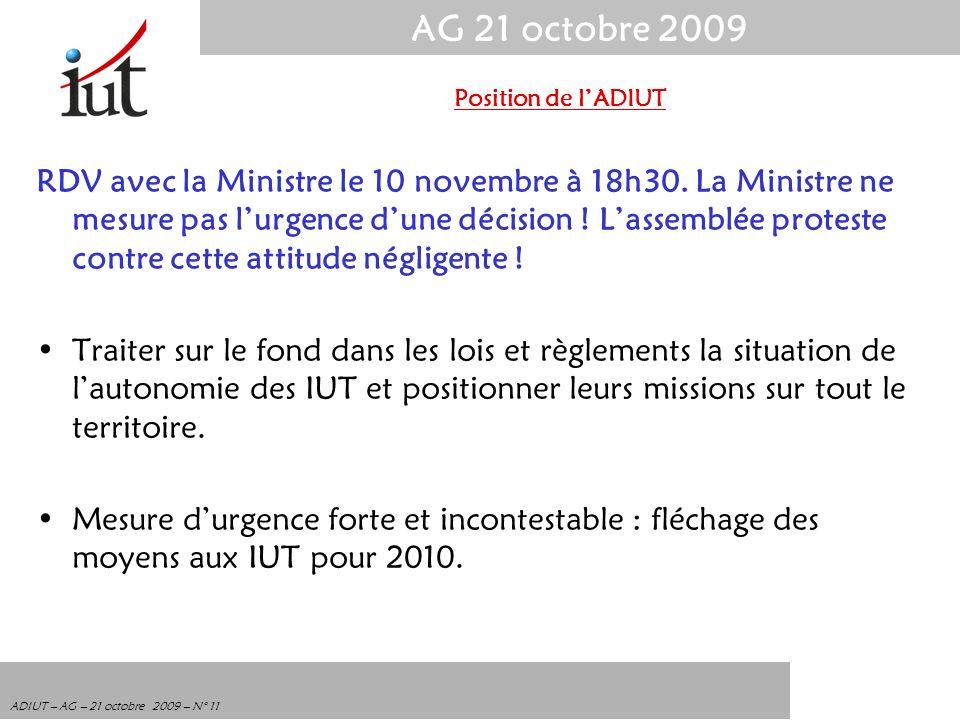 AG 21 octobre 2009 ADIUT – AG – 21 octobre 2009 – N° 11 RDV avec la Ministre le 10 novembre à 18h30. La Ministre ne mesure pas lurgence dune décision