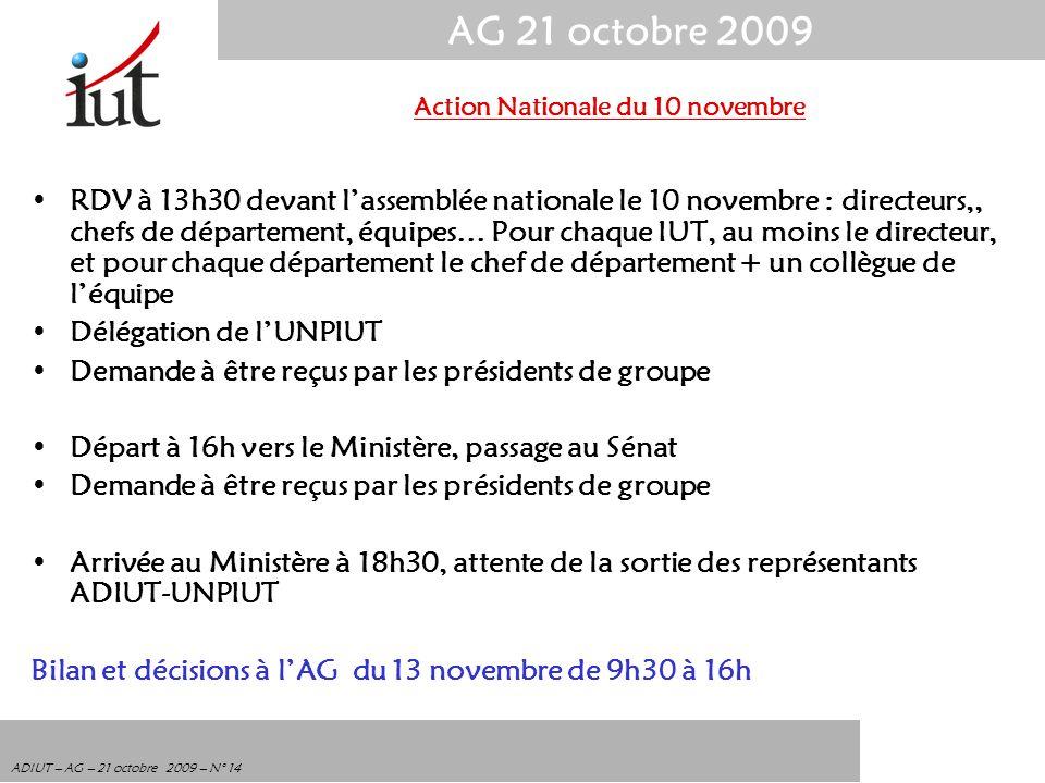 AG 21 octobre 2009 ADIUT – AG – 21 octobre 2009 – N° 14 RDV à 13h30 devant lassemblée nationale le 10 novembre : directeurs,, chefs de département, éq
