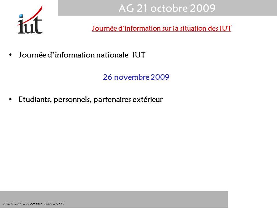 AG 21 octobre 2009 ADIUT – AG – 21 octobre 2009 – N° 15 Journée dinformation nationale IUT 26 novembre 2009 Etudiants, personnels, partenaires extérie