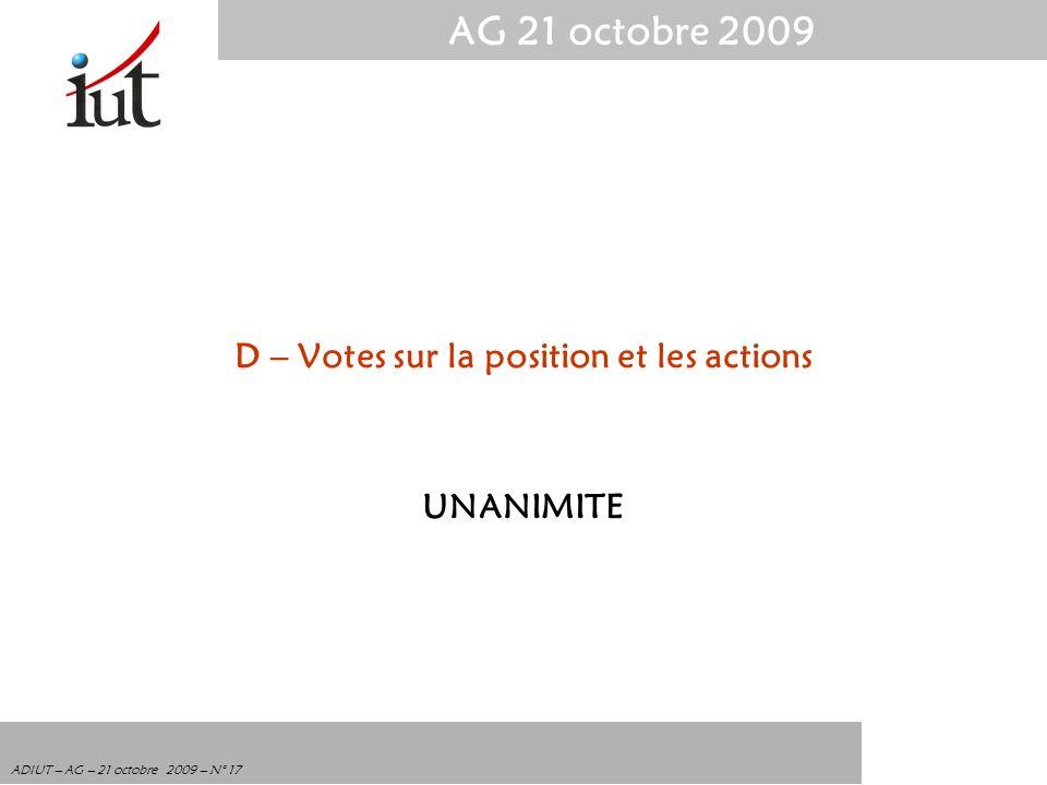 AG 21 octobre 2009 ADIUT – AG – 21 octobre 2009 – N° 17 D – Votes sur la position et les actions UNANIMITE