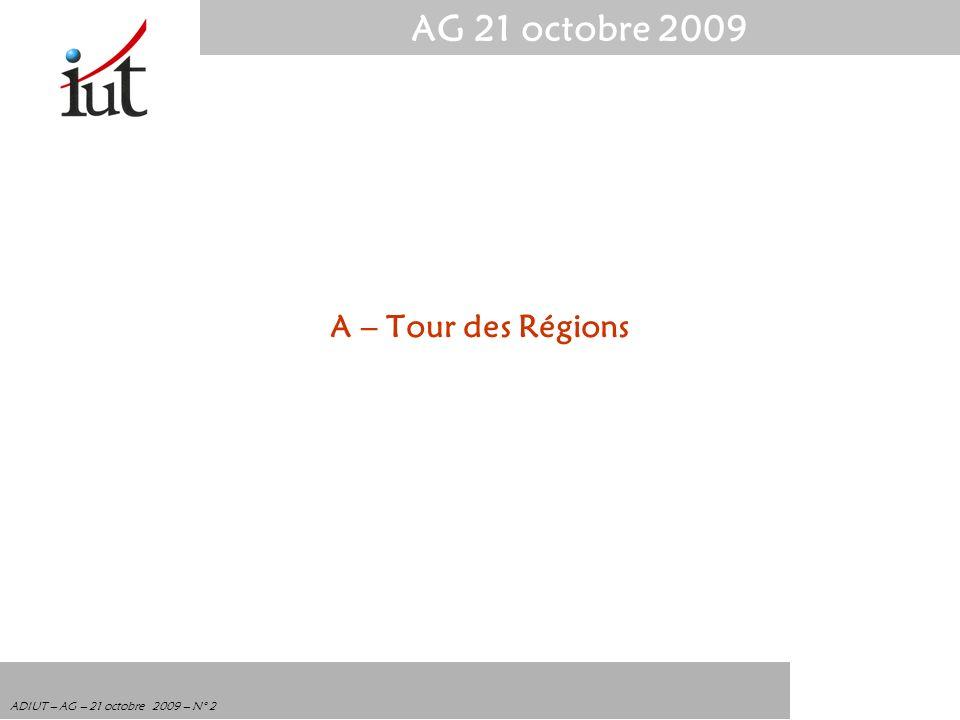 AG 21 octobre 2009 ADIUT – AG – 21 octobre 2009 – N° 2 A – Tour des Régions