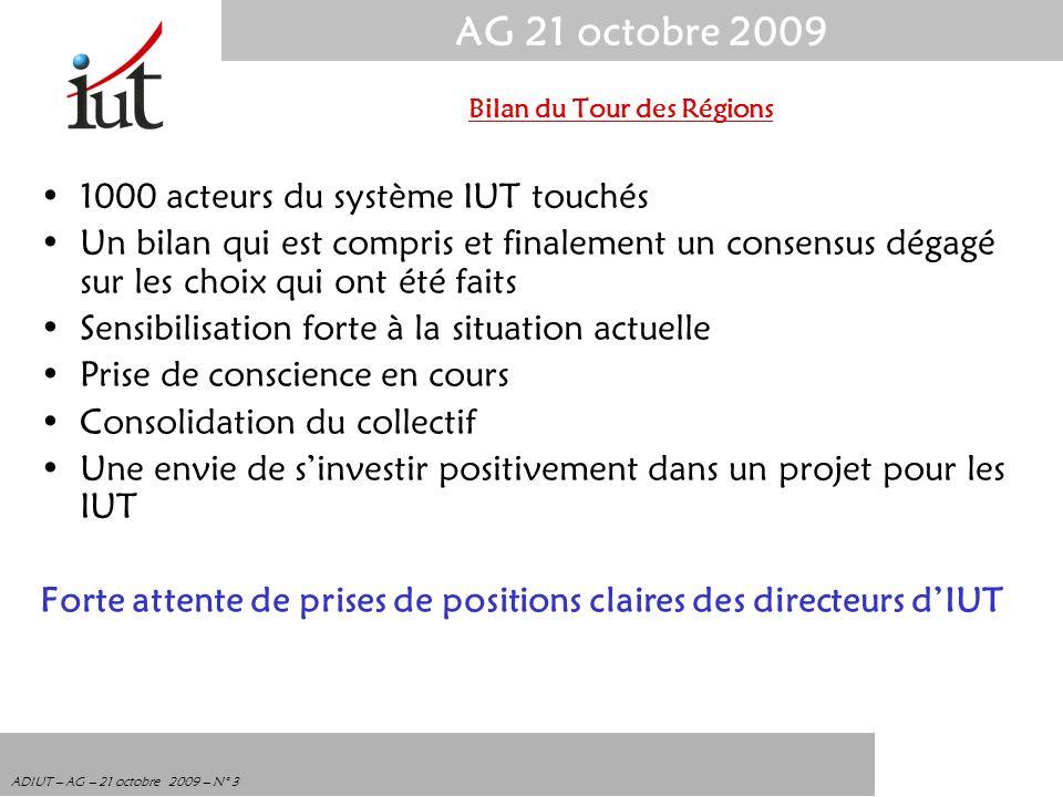 AG 21 octobre 2009 ADIUT – AG – 21 octobre 2009 – N° 3 1000 acteurs du système IUT touchés Un bilan qui est compris et finalement un consensus dégagé