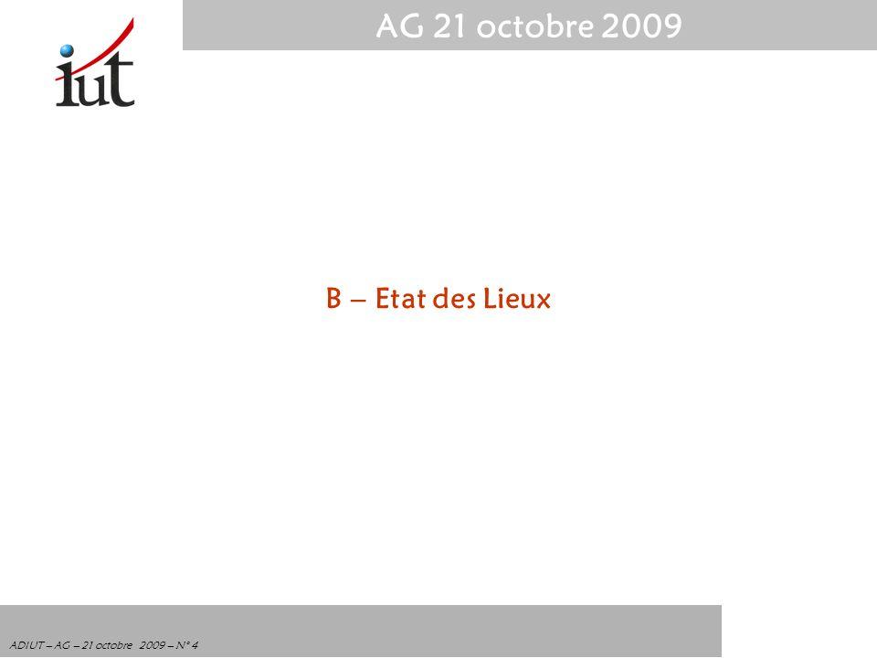 AG 21 octobre 2009 ADIUT – AG – 21 octobre 2009 – N° 4 B – Etat des Lieux