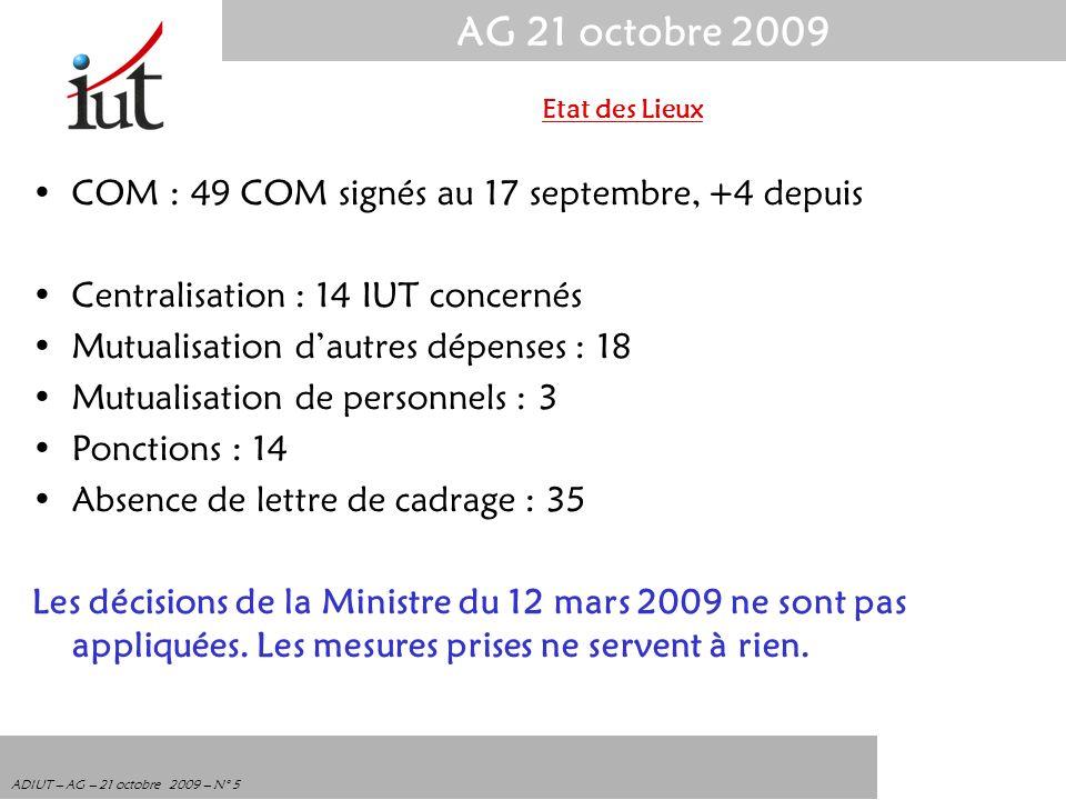 AG 21 octobre 2009 ADIUT – AG – 21 octobre 2009 – N° 5 COM : 49 COM signés au 17 septembre, +4 depuis Centralisation : 14 IUT concernés Mutualisation