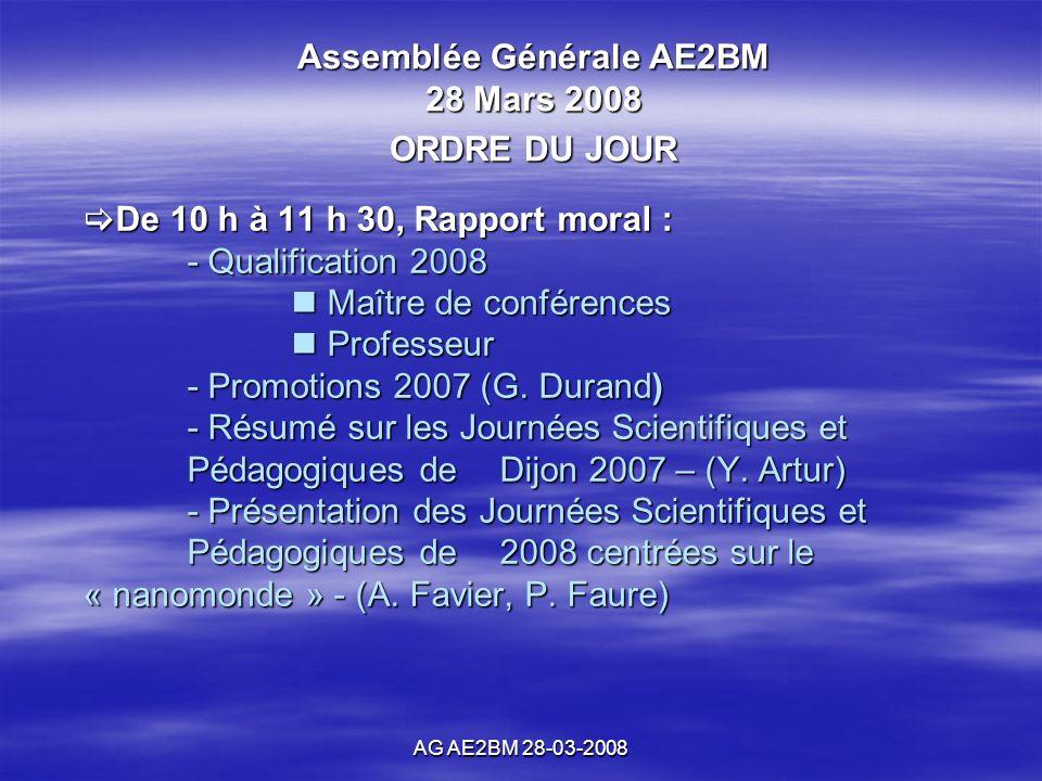AG AE2BM 28-03-2008 De 10 h à 11 h 30, Rapport moral : - Qualification 2008 Maître de conférences Professeur - Promotions 2007 (G.
