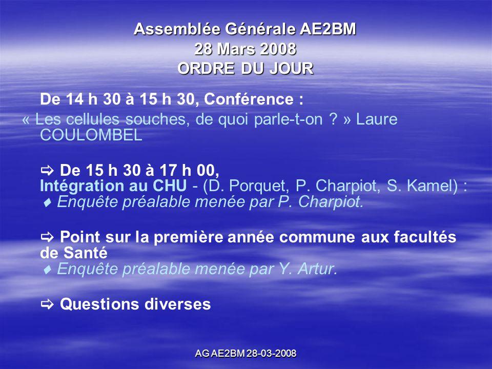 AG AE2BM 28-03-2008 Assemblée Générale AE2BM 28 Mars 2008 ORDRE DU JOUR De 14 h 30 à 15 h 30, Conférence : « Les cellules souches, de quoi parle-t-on .