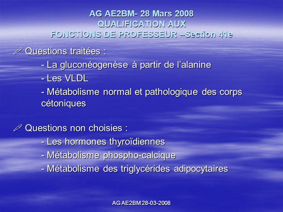 AG AE2BM 28-03-2008 Questions traitées : Questions traitées : - La gluconéogenèse à partir de lalanine - Les VLDL - Métabolisme normal et pathologique des corps cétoniques Questions non choisies : Questions non choisies : - Les hormones thyroïdiennes - Métabolisme phospho-calcique - Métabolisme des triglycérides adipocytaires AG AE2BM- 28 Mars 2008 QUALIFICATION AUX FONCTIONS DE PROFESSEUR –Section 41e