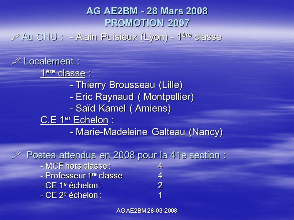 AG AE2BM 28-03-2008 AG AE2BM - 28 Mars 2008 PROMOTION 2007 Au CNU : - Alain Puisieux (Lyon) - 1 ère classe Au CNU : - Alain Puisieux (Lyon) - 1 ère classe Localement : Localement : 1 ère classe : - Thierry Brousseau (Lille) - Eric Raynaud ( Montpellier) - Saïd Kamel ( Amiens) C.E 1 er Echelon : - Marie-Madeleine Galteau (Nancy) Postes attendus en 2008 pour la 41e section : Postes attendus en 2008 pour la 41e section : - MCF hors classe :4 - Professeur 1 re classe :4 - CE 1 e échelon :2 - CE 2 e échelon :1