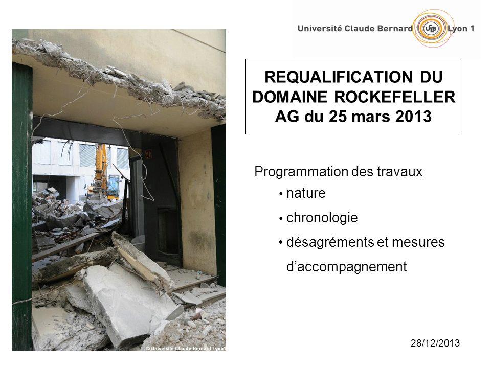 28/12/2013 REQUALIFICATION DU DOMAINE ROCKEFELLER AG du 25 mars 2013 Programmation des travaux nature chronologie désagréments et mesures daccompagnem