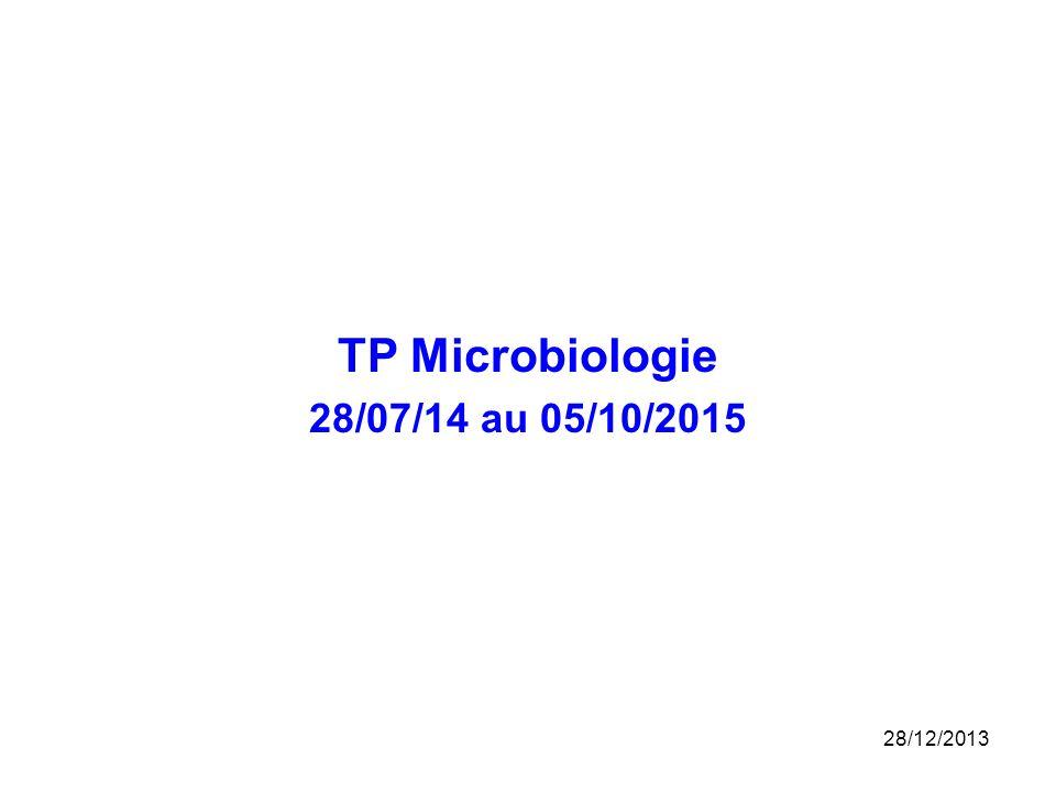 TP Microbiologie 28/07/14 au 05/10/2015