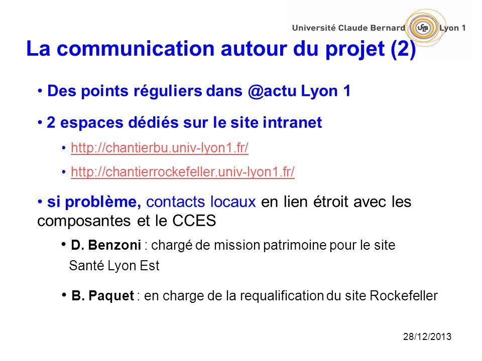 28/12/2013 La communication autour du projet (2) Des points réguliers dans @actu Lyon 1 2 espaces dédiés sur le site intranet http://chantierbu.univ-l