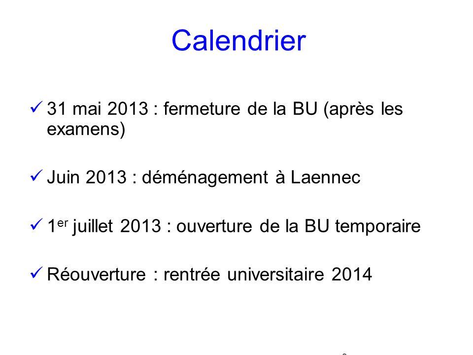8 Calendrier 31 mai 2013 : fermeture de la BU (après les examens) Juin 2013 : déménagement à Laennec 1 er juillet 2013 : ouverture de la BU temporaire