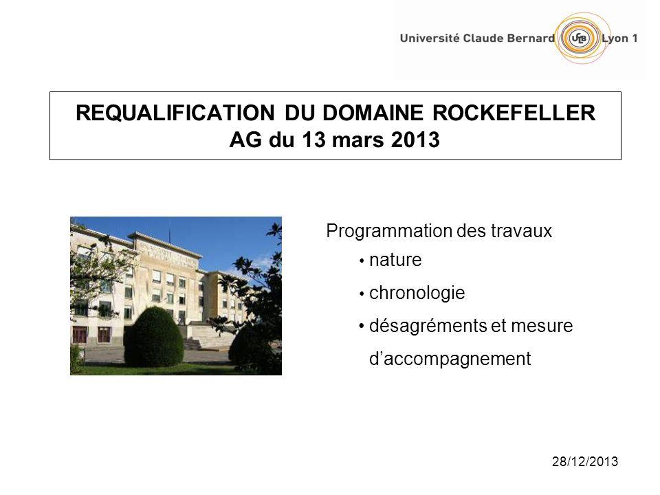 28/12/2013 REQUALIFICATION DU DOMAINE ROCKEFELLER AG du 13 mars 2013 Programmation des travaux nature chronologie désagréments et mesure daccompagneme