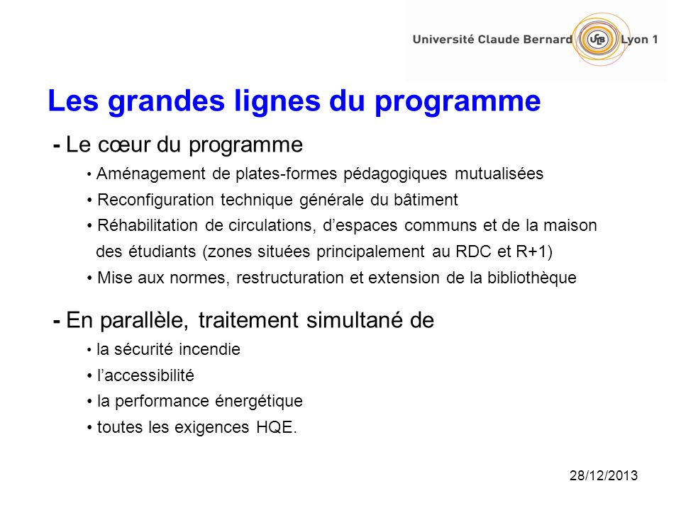 Périmètre et coût du projet surface réhabilitée 12 000 m 2 budget de lopération : 19,950 M Etat10 M Région 7 M Grand Lyon 2,2 M UCBL 0,75 M 28/12/2013