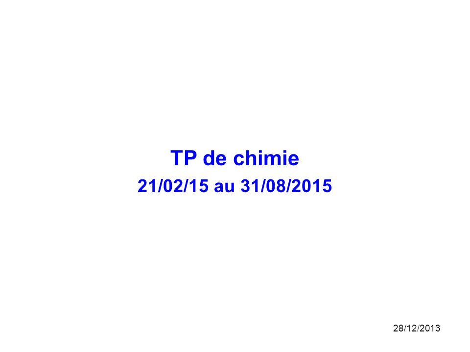 TP de chimie 21/02/15 au 31/08/2015