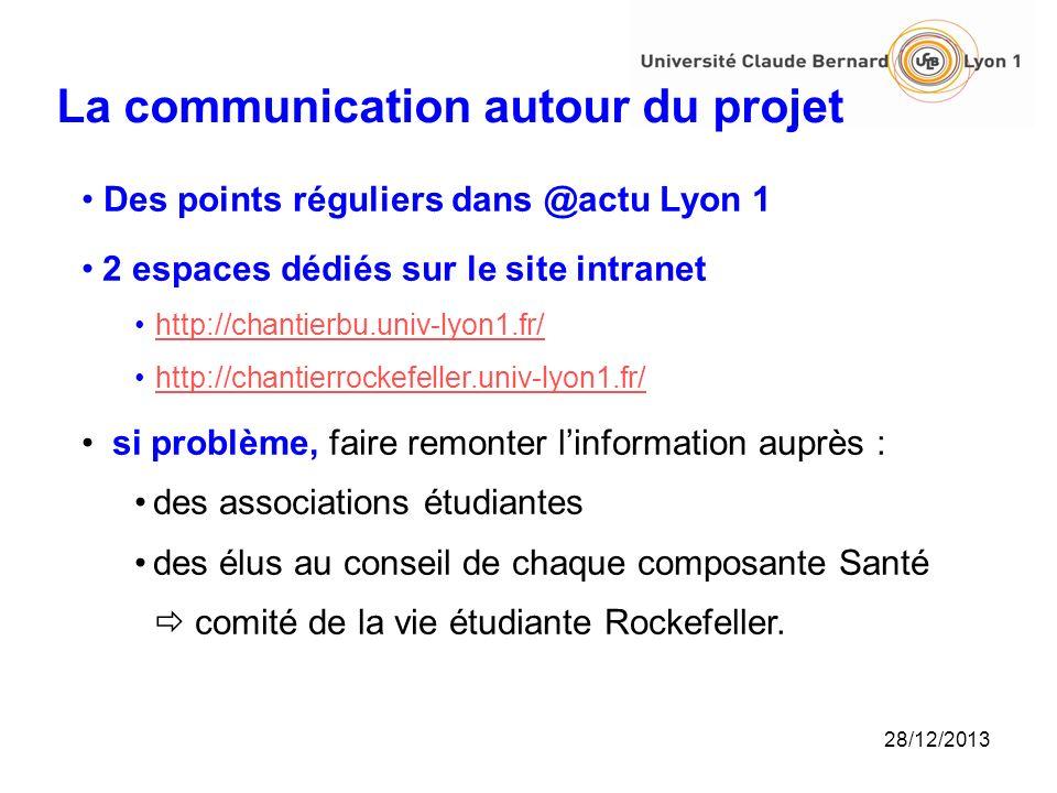 28/12/2013 La communication autour du projet Des points réguliers dans @actu Lyon 1 2 espaces dédiés sur le site intranet http://chantierbu.univ-lyon1