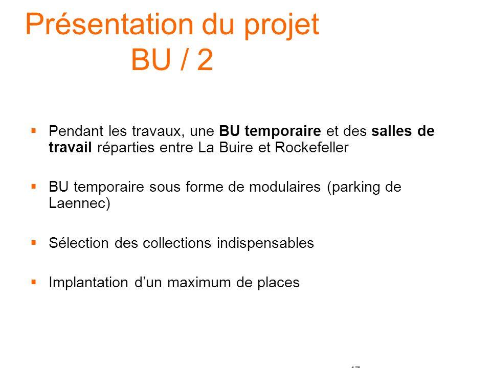 47 Présentation du projet BU / 2 Pendant les travaux, une BU temporaire et des salles de travail réparties entre La Buire et Rockefeller BU temporaire