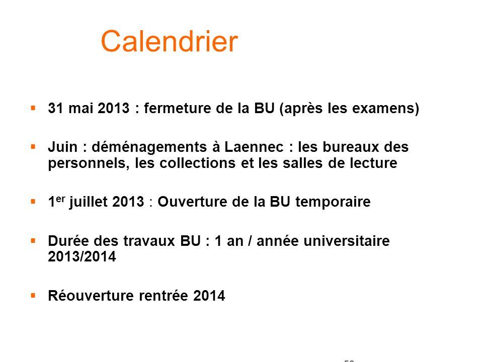 52 Calendrier 31 mai 2013 : fermeture de la BU (après les examens) Juin : déménagements à Laennec : les bureaux des personnels, les collections et les