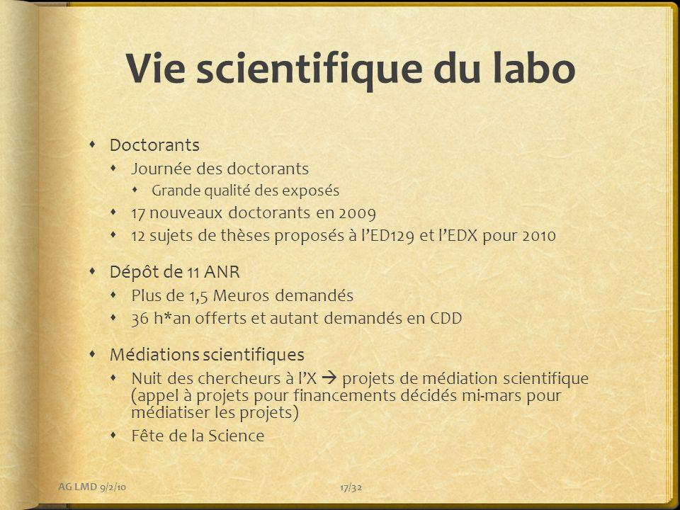 Vie scientifique du labo Doctorants Journée des doctorants Grande qualité des exposés 17 nouveaux doctorants en 2009 12 sujets de thèses proposés à lE