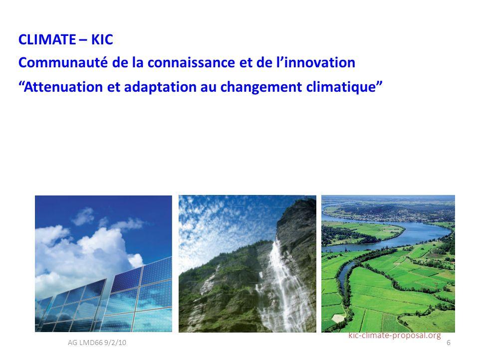 CLIMATE – KIC Communauté de la connaissance et de linnovation Attenuation et adaptation au changement climatique kic-climate-proposal.org 6AG LMD66 9/