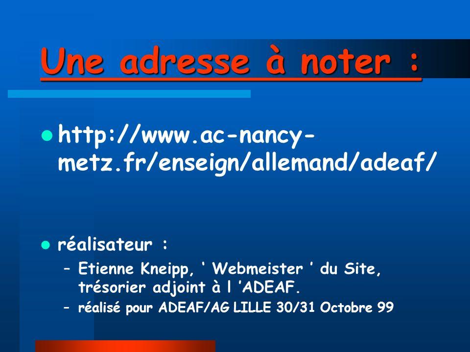 ADEAFNET, un site sollicité, un outil de travail : Adeafnet a été sollicité par le WEBRING -Ressources Francophones de l Education / le 22/10/99, notr