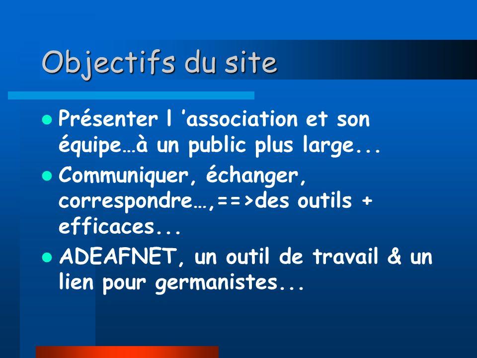 ADEAFNET, un site sollicité, un outil de travail : Adeafnet a été sollicité par le WEBRING -Ressources Francophones de l Education / le 22/10/99, notre site est reconnu comme « Education site de ressources en allemand » Référencé par la plupart des sites académiques et universitaires Référencé par de nombreux moteurs de recherche-dont Yahoo… Interconnecté avec le site de la VDF allemand...