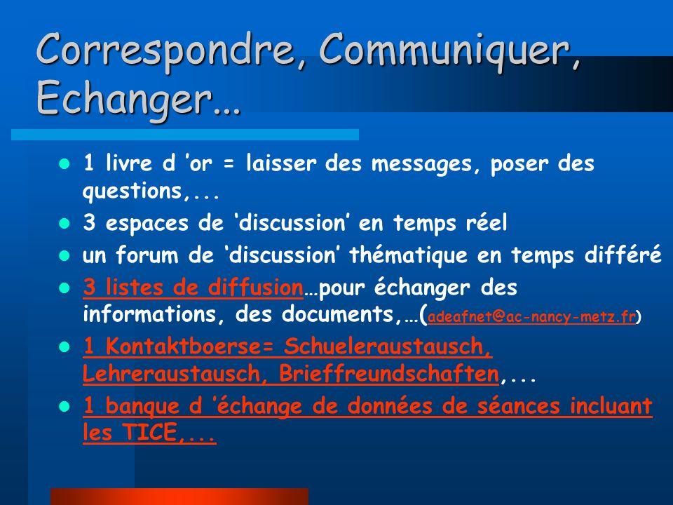 Correspondre, Communiquer, Echanger...1 livre d or = laisser des messages, poser des questions,...