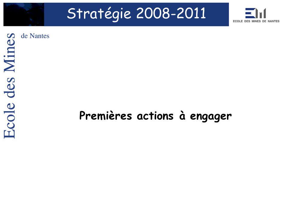 Premières actions à engager Stratégie 2008-2011