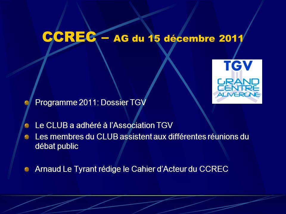 CCREC – AG du 15 décembre 2011 Programme 2011: Dossier TGV Le CLUB a adhéré à lAssociation TGV Les membres du CLUB assistent aux différentes réunions