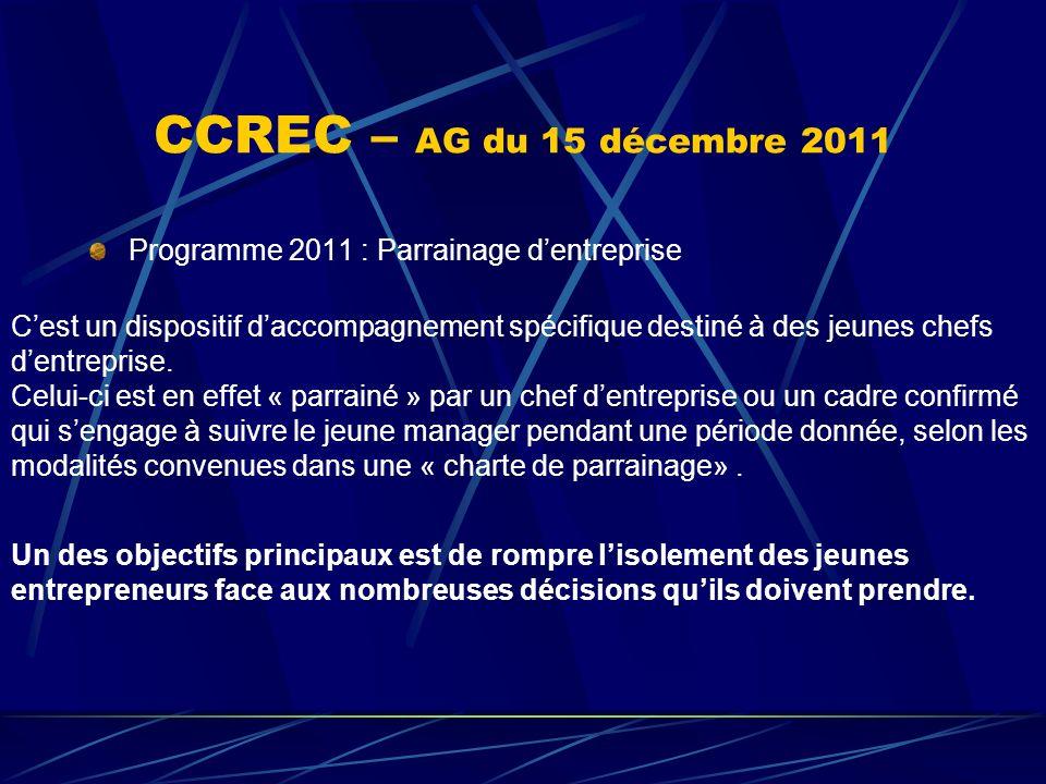 CCREC – AG du 15 décembre 2011 Programme 2011 : Parrainage dentreprise Cest un dispositif daccompagnement spécifique destiné à des jeunes chefs dentre
