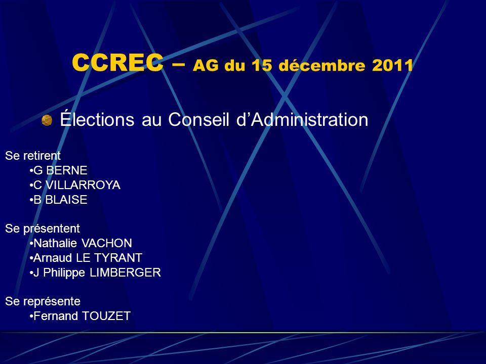 CCREC – AG du 15 décembre 2011 Élections au Conseil dAdministration Se retirent G BERNE C VILLARROYA B BLAISE Se présentent Nathalie VACHON Arnaud LE