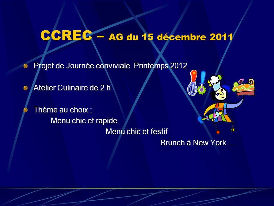 CCREC – AG du 15 décembre 2011 Projet de Journée conviviale Printemps 2012 Atelier Culinaire de 2 h Thème au choix : Menu chic et rapide Menu chic et