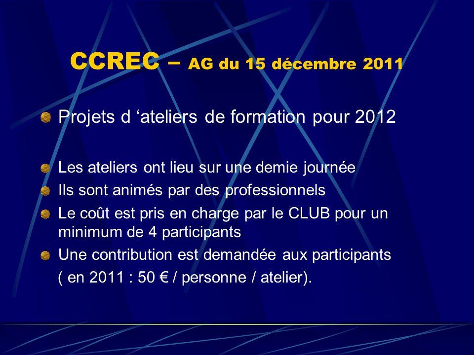 CCREC – AG du 15 décembre 2011 Projets d ateliers de formation pour 2012 Les ateliers ont lieu sur une demie journée Ils sont animés par des professio
