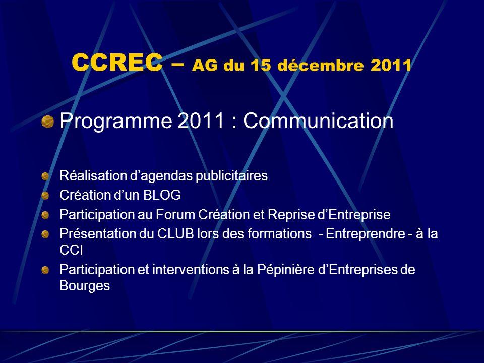 CCREC – AG du 15 décembre 2011 Programme 2011 : Communication Réalisation dagendas publicitaires Création dun BLOG Participation au Forum Création et