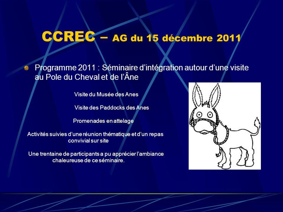 CCREC – AG du 15 décembre 2011 Programme 2011 : Séminaire dintégration autour dune visite au Pole du Cheval et de lÂne Visite du Musée des Anes Visite