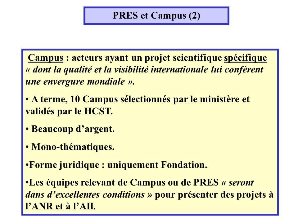 PRES et Campus (2) Campus : acteurs ayant un projet scientifique spécifique « dont la qualité et la visibilité internationale lui confèrent une envergure mondiale ».