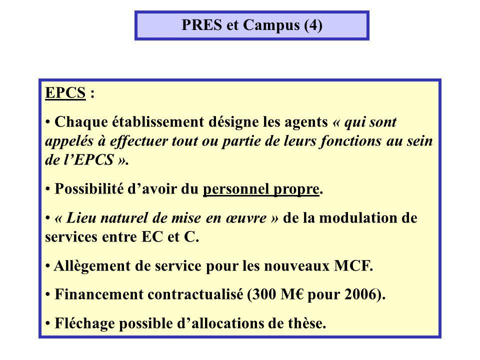 PRES et Campus (4) EPCS : Chaque établissement désigne les agents « qui sont appelés à effectuer tout ou partie de leurs fonctions au sein de lEPCS ».