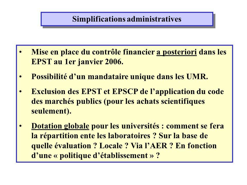 Simplifications administratives Mise en place du contrôle financier a posteriori dans les EPST au 1er janvier 2006.