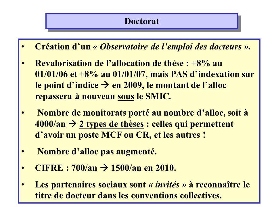 Doctorat Création dun « Observatoire de lemploi des docteurs ».