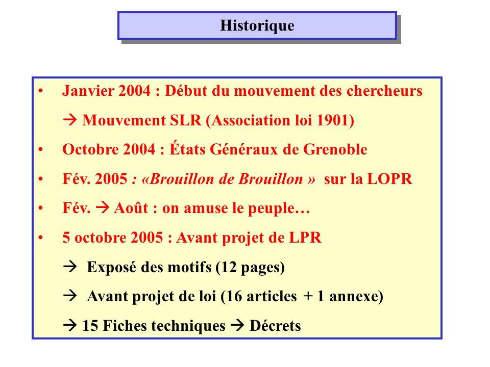Historique Janvier 2004 : Début du mouvement des chercheurs Mouvement SLR (Association loi 1901) Octobre 2004 : États Généraux de Grenoble Fév.