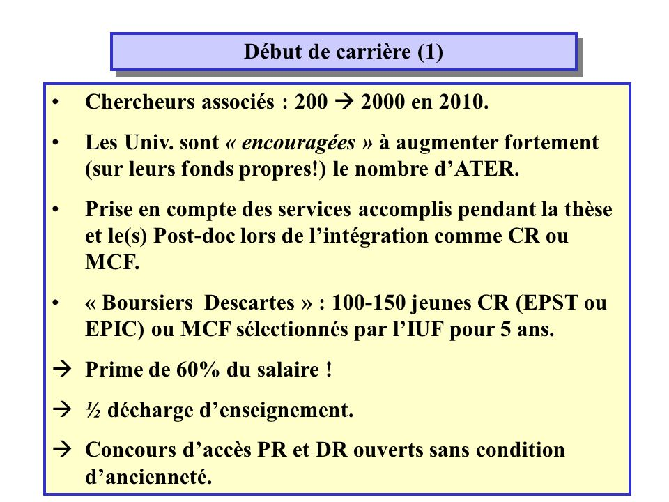 Début de carrière (1) Chercheurs associés : 200 2000 en 2010.