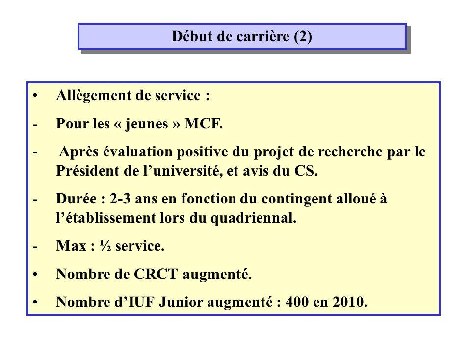 Début de carrière (2) Allègement de service : -Pour les « jeunes » MCF.
