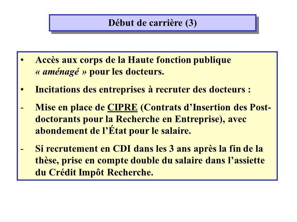 Début de carrière (3) Accès aux corps de la Haute fonction publique « aménagé » pour les docteurs.