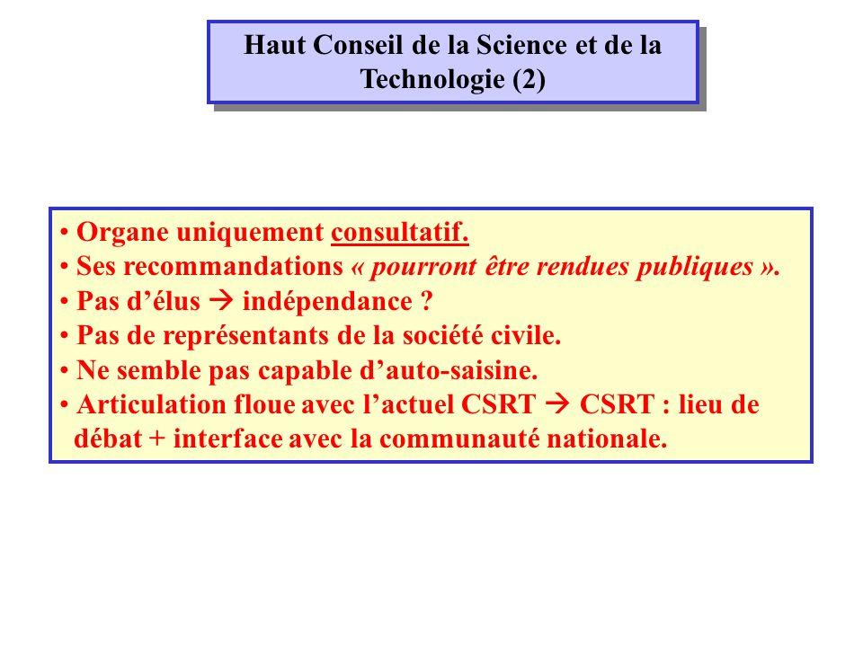 Haut Conseil de la Science et de la Technologie (2) Organe uniquement consultatif.
