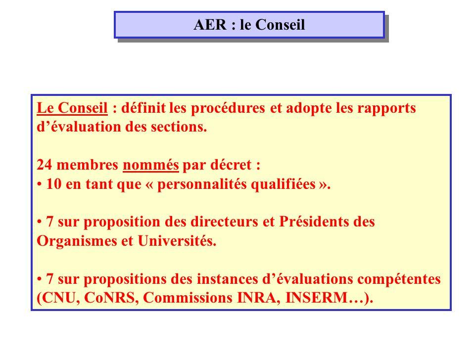 AER : le Conseil Le Conseil : définit les procédures et adopte les rapports dévaluation des sections.