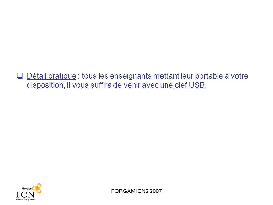 FORGAM ICN2 2007 Dossier à rendre pour le 23 mars 2007 Dossier de 10 pages à déposer à lAccueil ICN : 1.Rappel de la liste des membres 2.Quelle a été votre stratégie initiale ainsi que vos objectifs initiaux (voir votre Plan Marketing Stratégique pour le jeu) .