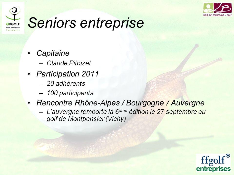 Seniors entreprise Capitaine –Claude Pitoizet Participation 2011 –20 adhérents –100 participants Rencontre Rhône-Alpes / Bourgogne / Auvergne –Lauverg